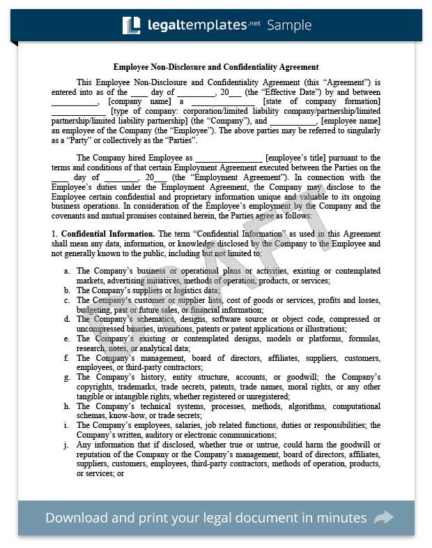 Non-Disclosure Agreement Template Library Legal Templates - contractor confidentiality agreement