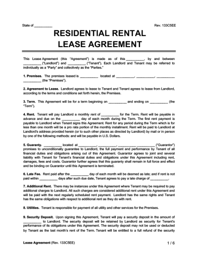 Residential Lease Agreement Form | Free Rental Agreement | Legal Templates