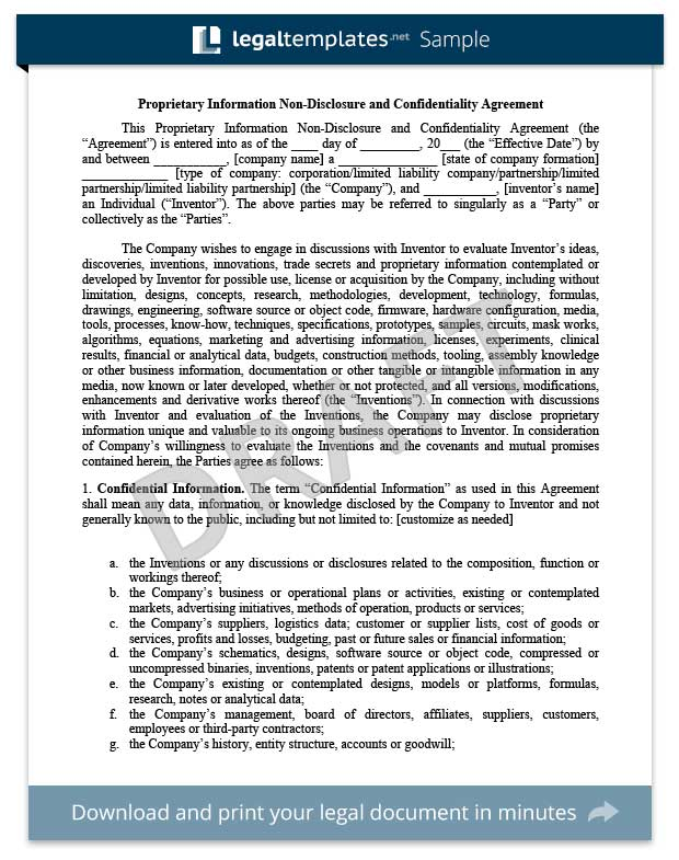 Non-Disclosure Agreement Template Library Legal Templates - data confidentiality agreement