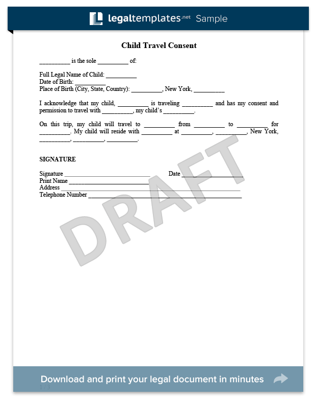 Doc12751650 Sample Permission Letter for Traveling Child – One Parent Travel Consent Form