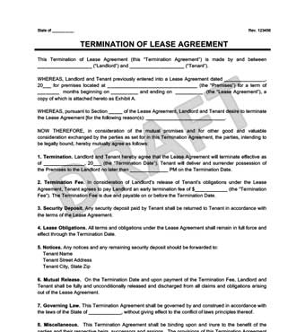 Make a Free Lease Termination Letter in Minutes Legal Templates - rental agreement letters