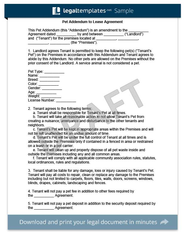 Pet Addendum to a Lease Agreement Legal Templates - what is a lease between landlord and tenant