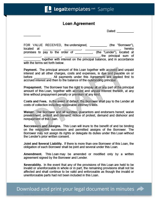 Create a Loan Agreement Legal Templates - money loan contract template