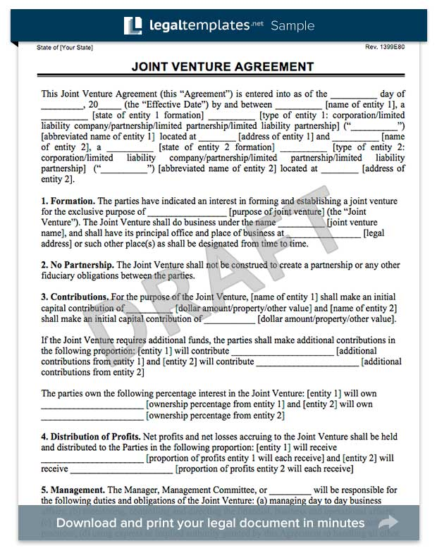 Joint Venture Agreement Forms Doc – Joint Venture Agreements Sample