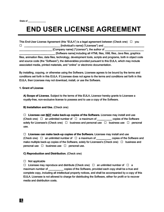 End User License Agreement Template Step Of The Registration