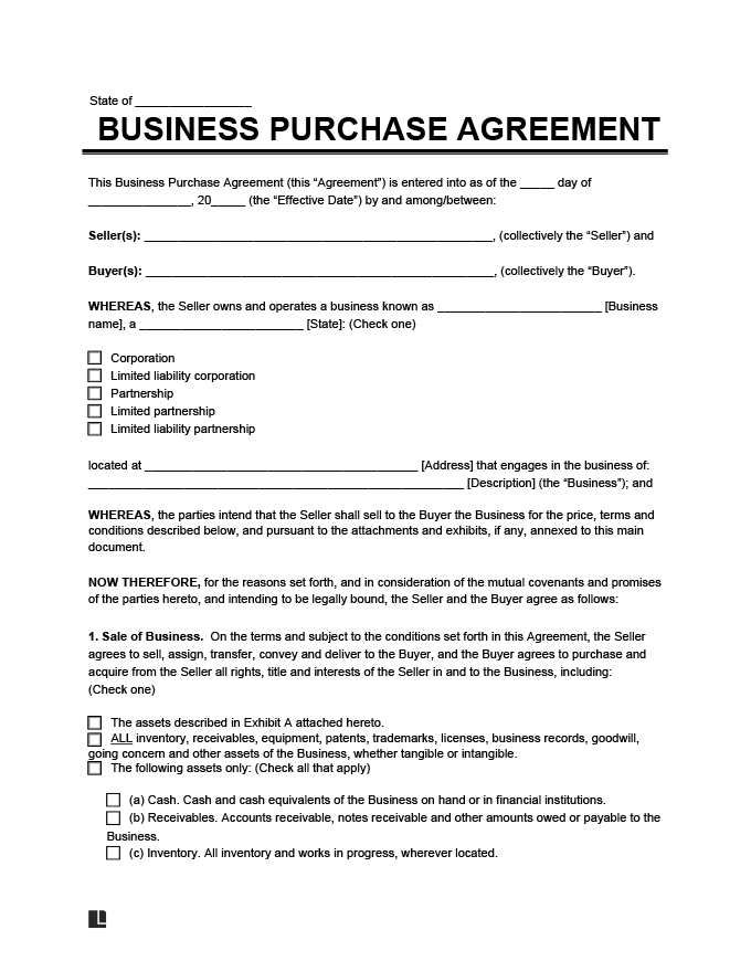 Create a Business Purchase Agreement Legal Templates - business sale contract