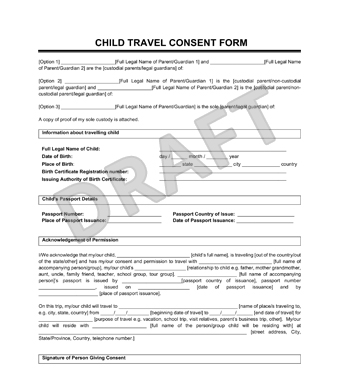 Child Travel Consent Form - Create a Letter of Consent - permission to travel letter template