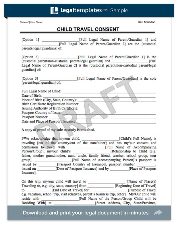 Doc12751650 Child Travel Consent Form Usa Child Travel – Passport Consent Forms
