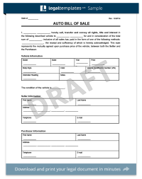 Bill of Sale Form | Create a Free Vehicle / Car Template