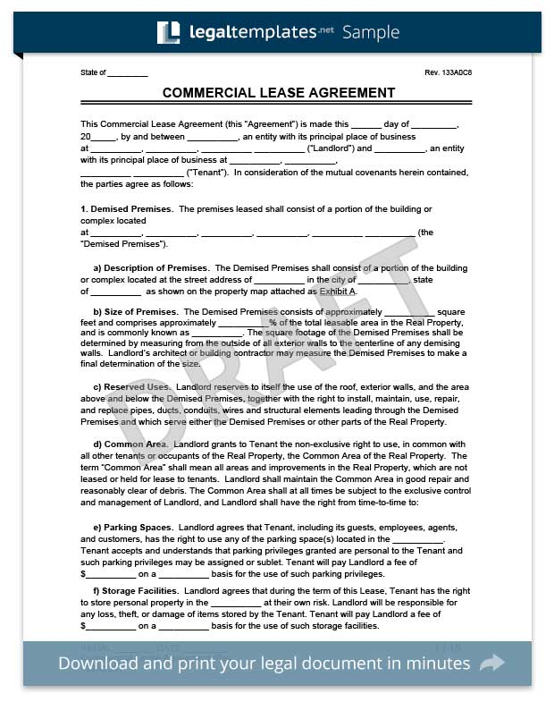 Commercial Lease Agreement Legal Templates - property lease agreement template
