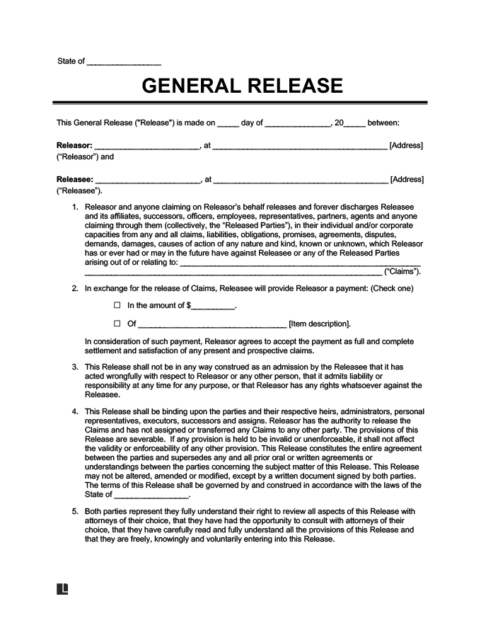 Free Release of Liability Form Sample Waiver Form Legal Templates