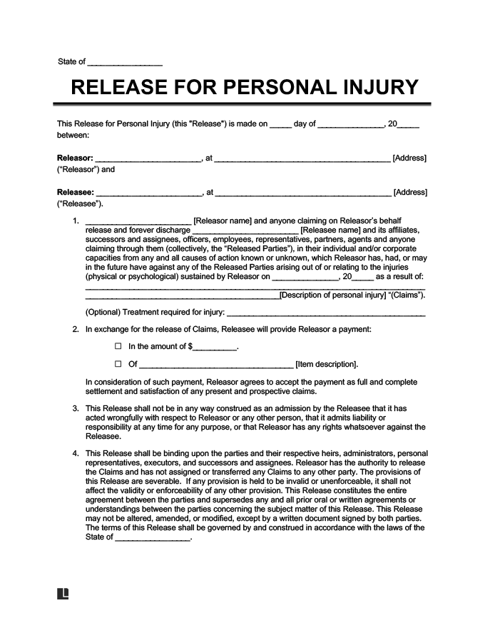 Release of Liability Create a Free Liability Waiver Form - free waiver of liability form template