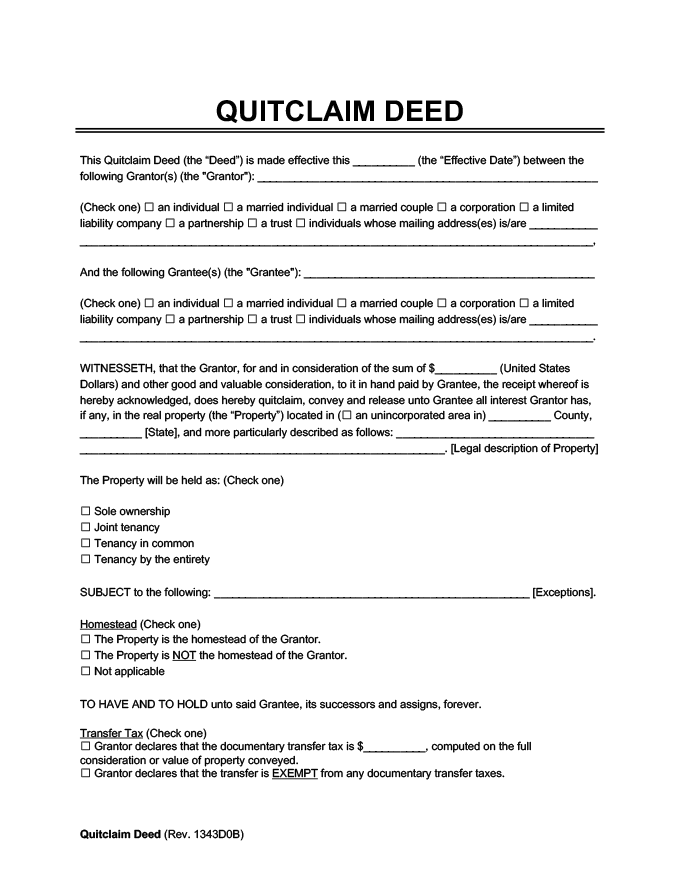 Quick Claim Deed Form Click Image To View Larger Sample Sample - quick claim deed