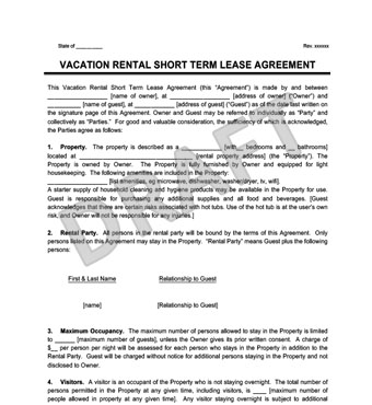 Vacation Rental Short Term Lease Agreement Create  Download - rental contract agreement
