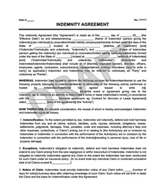 Create a Hold Harmless (Indemnity) Agreement Legal Templates