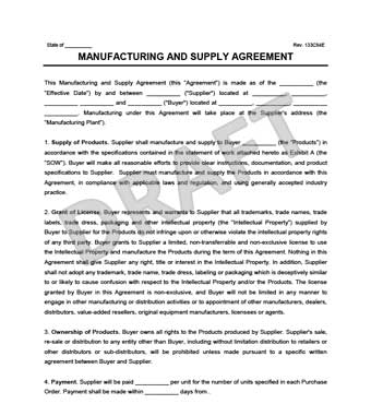 Manufacturing  Supply Agreement Create  Download a Free Form