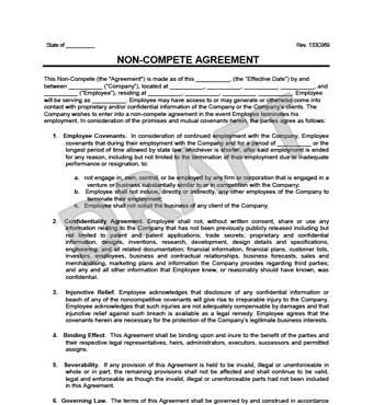 Non-Compete Agreement Create a Non-Compete Agreement Template