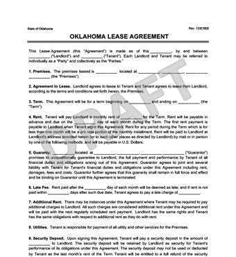 Oklahoma Residential Lease/Rental Agreement Forms Free PDF