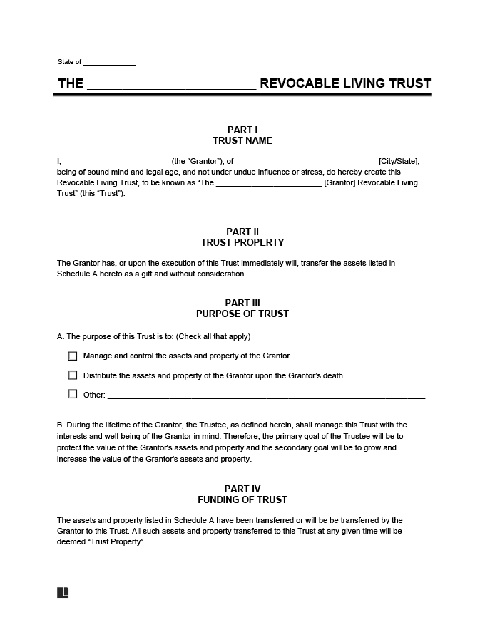 Revocable Living Trust Form - Create a Revocable Living Trust