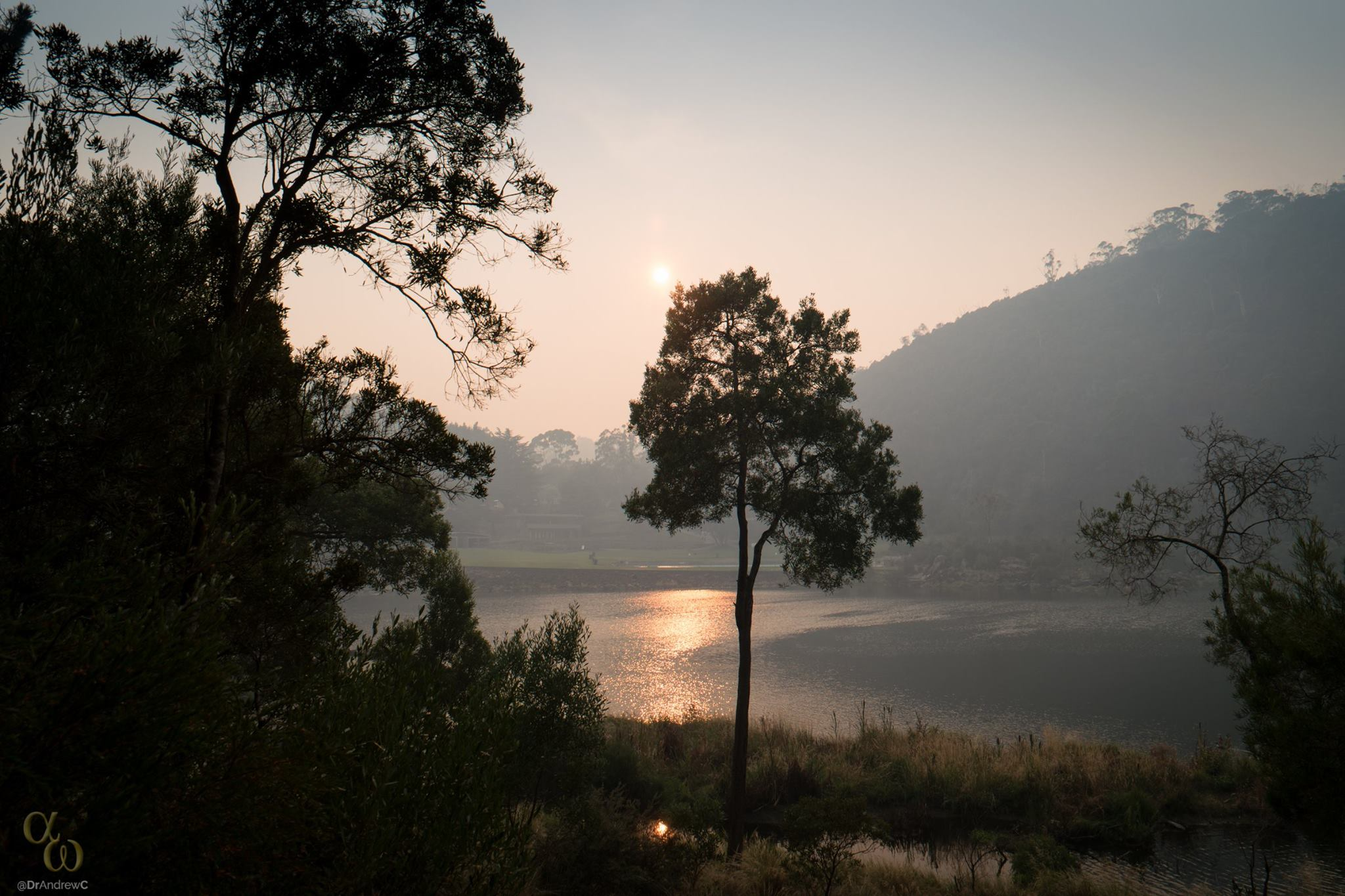 The smoke haze encroaching into Launceston at the Cataract Gorge First Basin