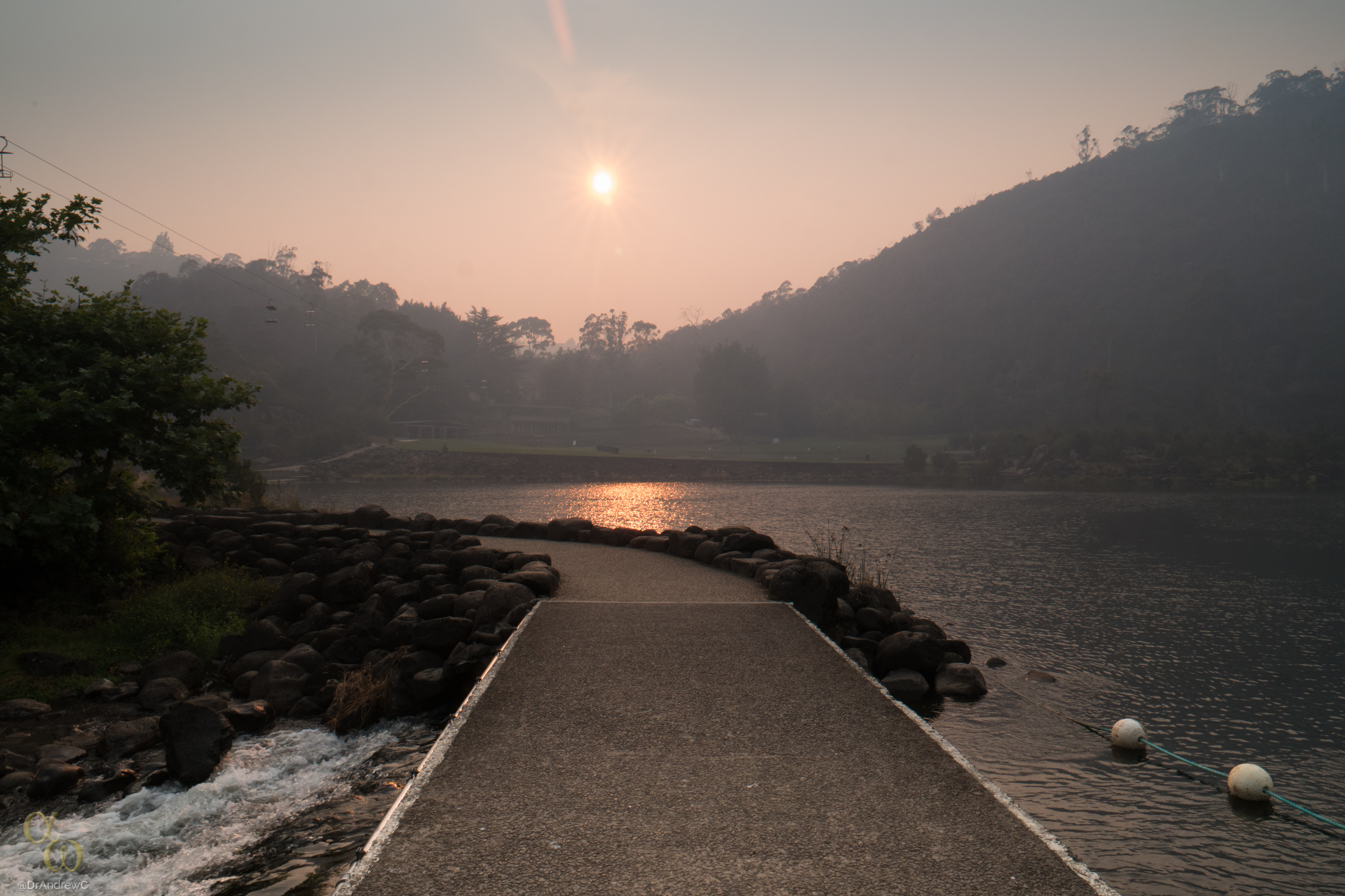 Cataract Gorge covered in smoke haze
