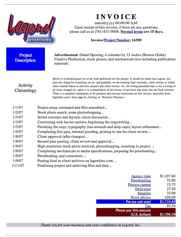 Typical Invoice Sample Legend, Inc Central - typical invoice