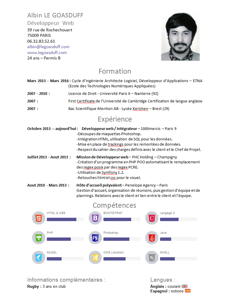competences web cv integrateur