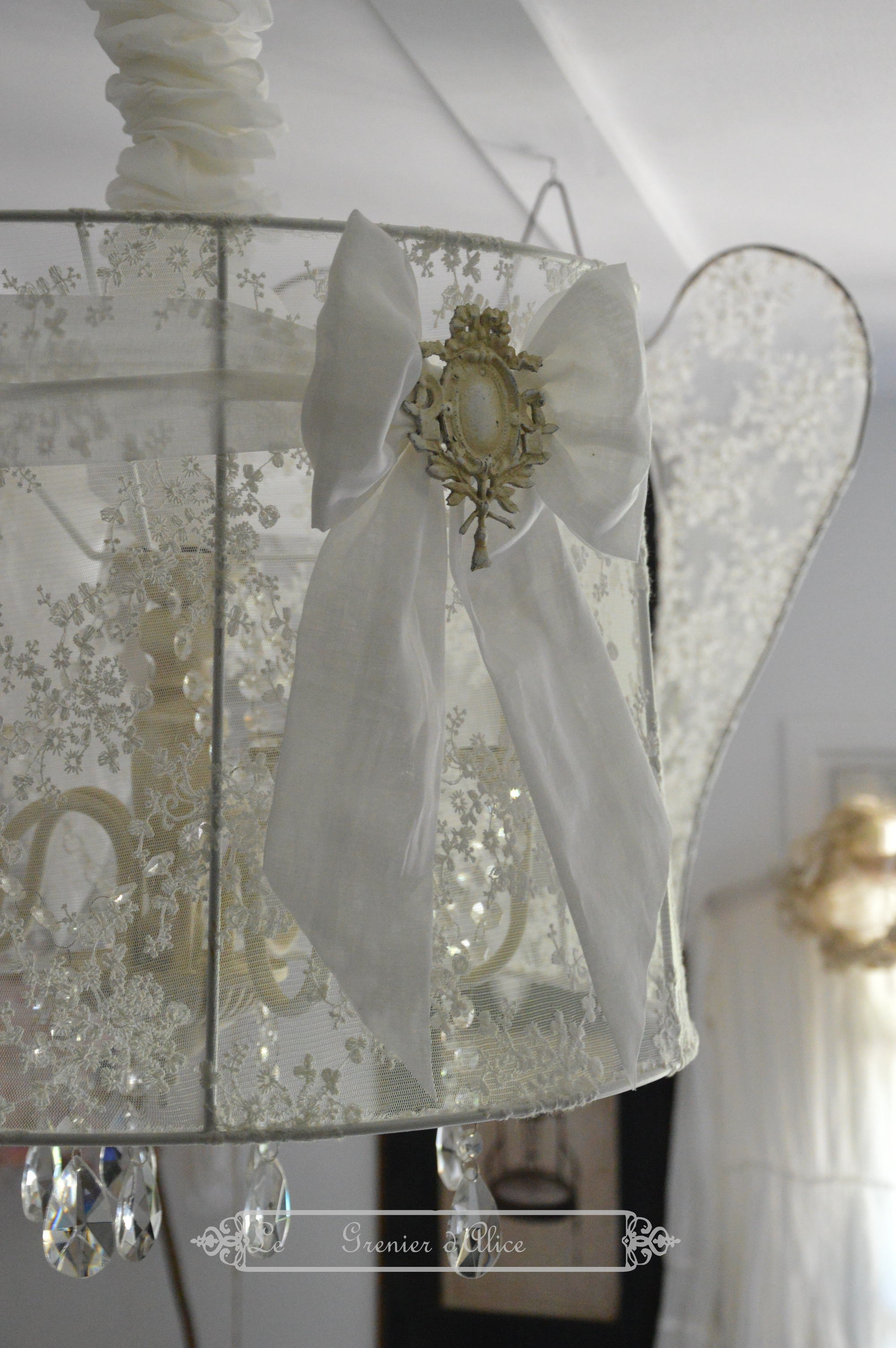 Suspension Abat Jour Blanc Le Grenier D'alice Shabby Chic Et Romantique French Decor