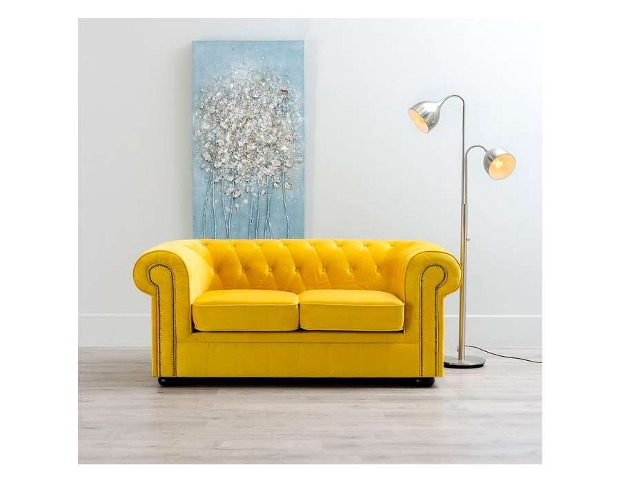 Canapé Chesterfield Velours 3 Places Canapé Chesterfield Jaune 2 Places Pas Cher