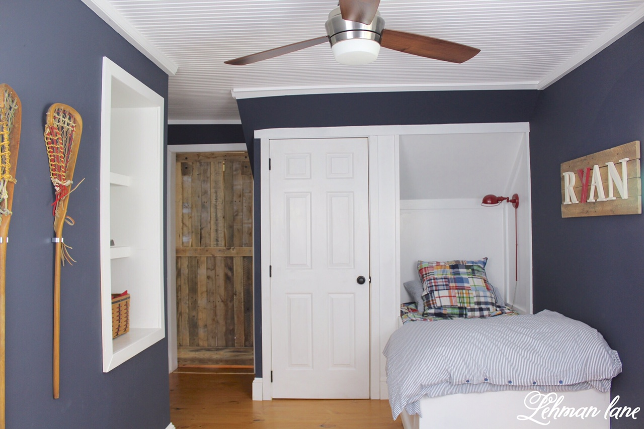 Built In Bed Nook Final Reveal Ryan S Built In Boys Blue Bedroom One Room