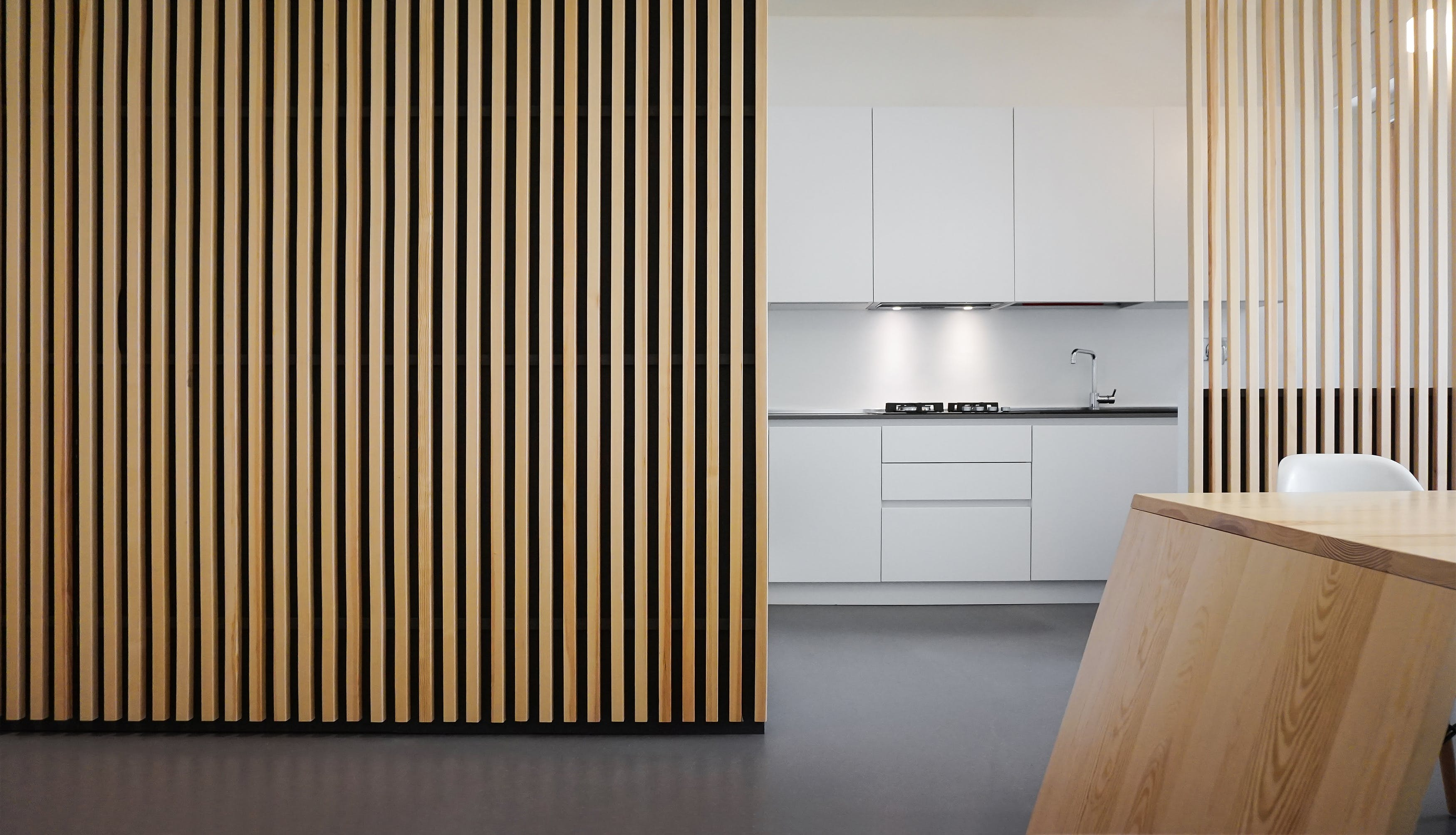 Vertical Wood Slat Wall Renovation In Turin Leibal