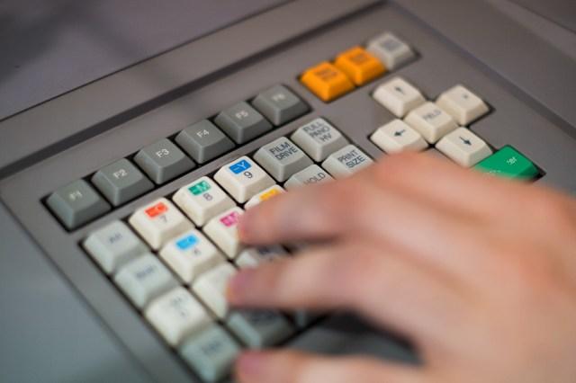keyboard on a printing machine