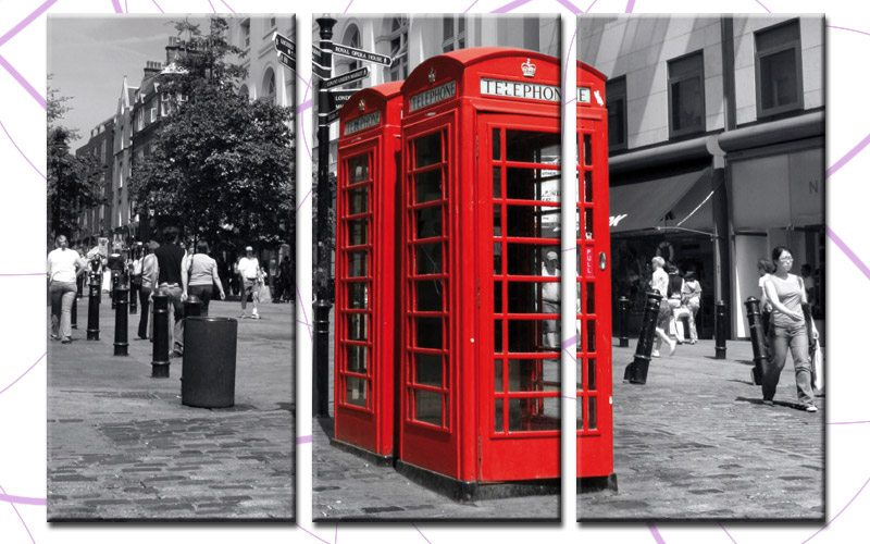 Leinwandbilder Strand Und Meer Red Phone Box Leinwand 3 Bilder London Phone Box C00241