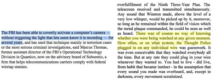 FBI laptop-camera snooping and Orwell\u0027s 1984 Side-by-side