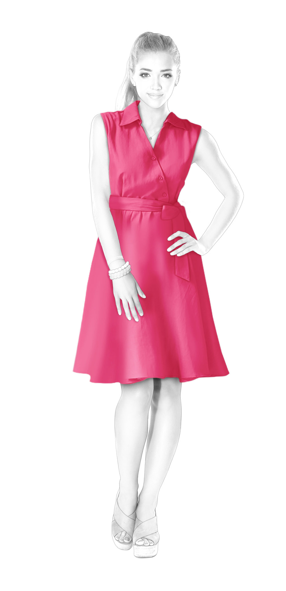 Dressing 200 Cm Dress With Wrap Stand Collar And Flared Skirt Sewing Pattern