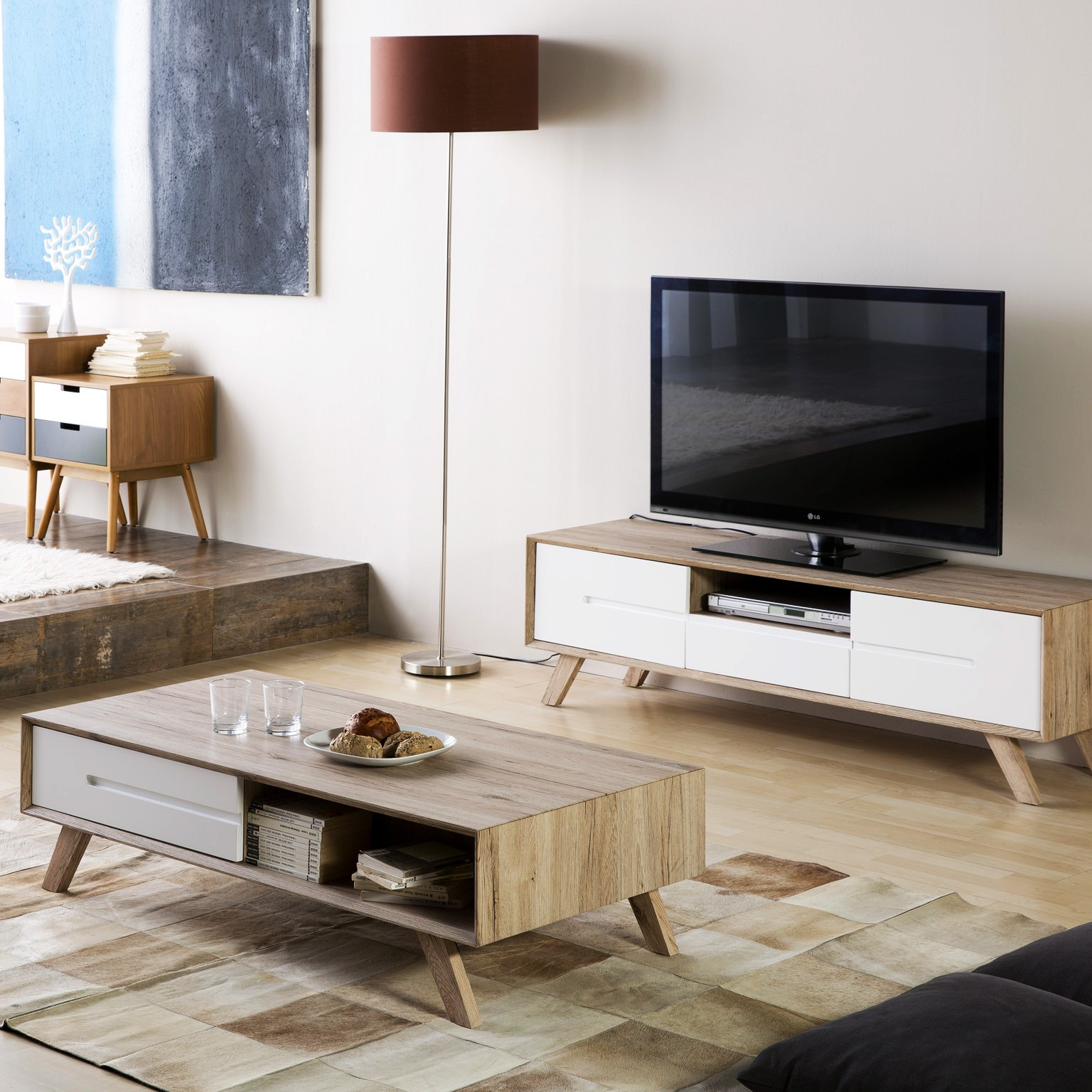 Table Basse Tv Promo Pack Meuble Tv Table Basse Olie Blanc Lemobilier Ma