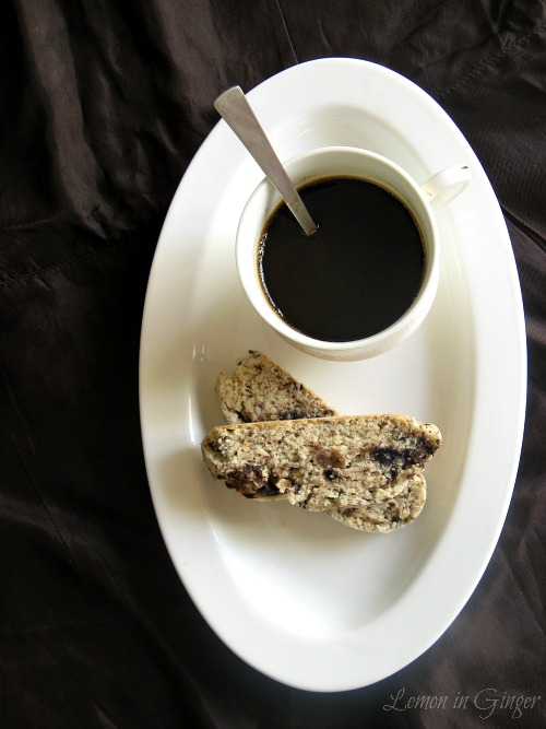 Eggless Candied Ginger & Chocolate Biscotti
