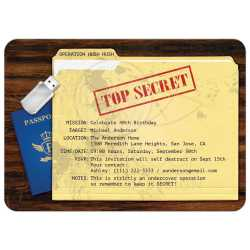 marvelous secret agent spy surprise birthday party invitation secret