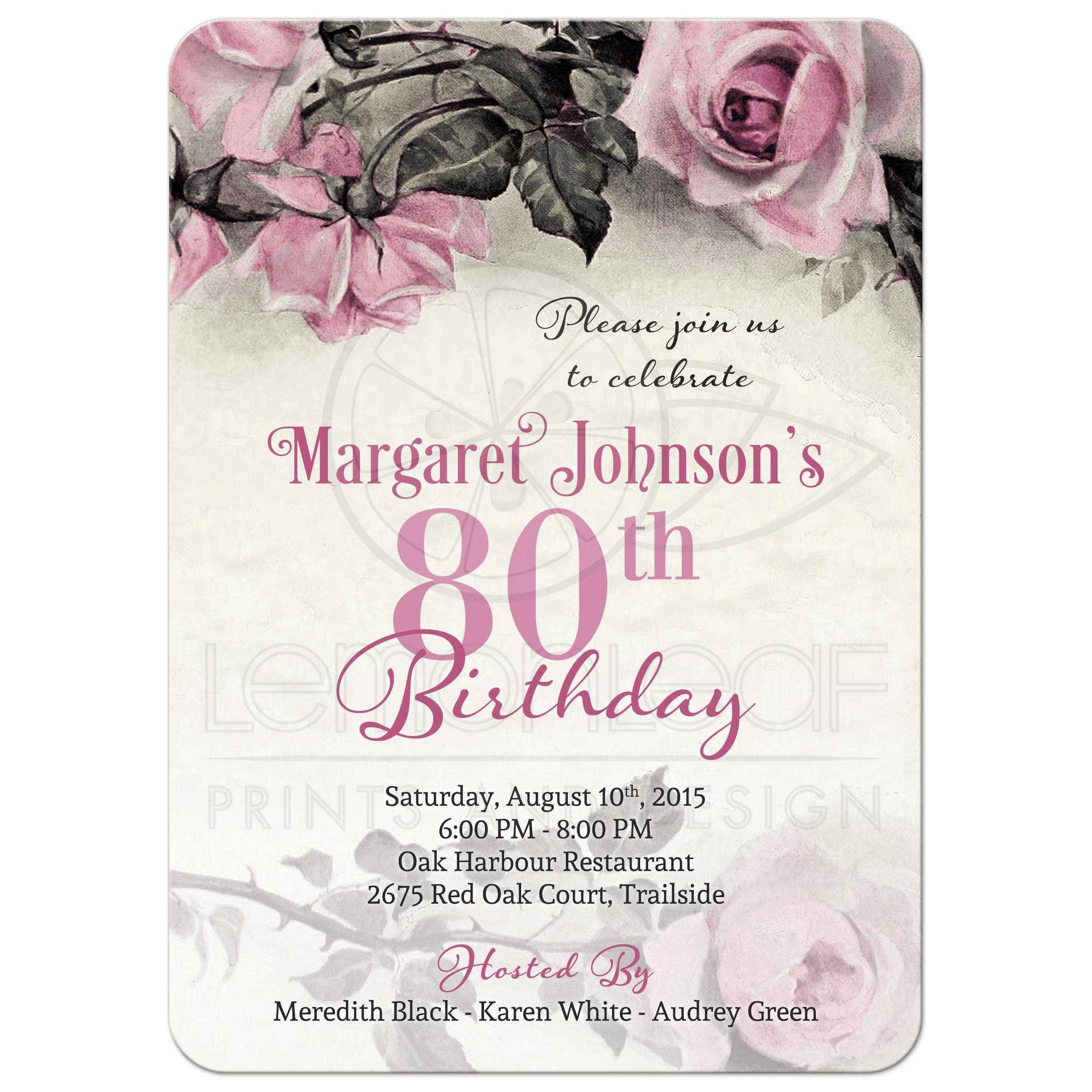 Supple Spanish 80th Birthday Invitations Grey S Ivory Rose Birthday Party Invitation Front Birthday Invitation Vintage Pink Grey Rose 80th Birthday Invitations invitations 80th Birthday Invitations