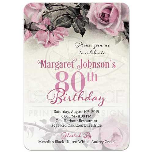 Medium Crop Of 80th Birthday Invitations
