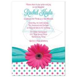 Cute Turquoise Polka Dots Pink Gerber Pink Ribbon Batmitzvah Bat Mitzvah Invitation Polka Dot Daisy Pink Turquoise Bat Mitzvah Invitations Cheap Bat Mitzvah Invitations Toronto