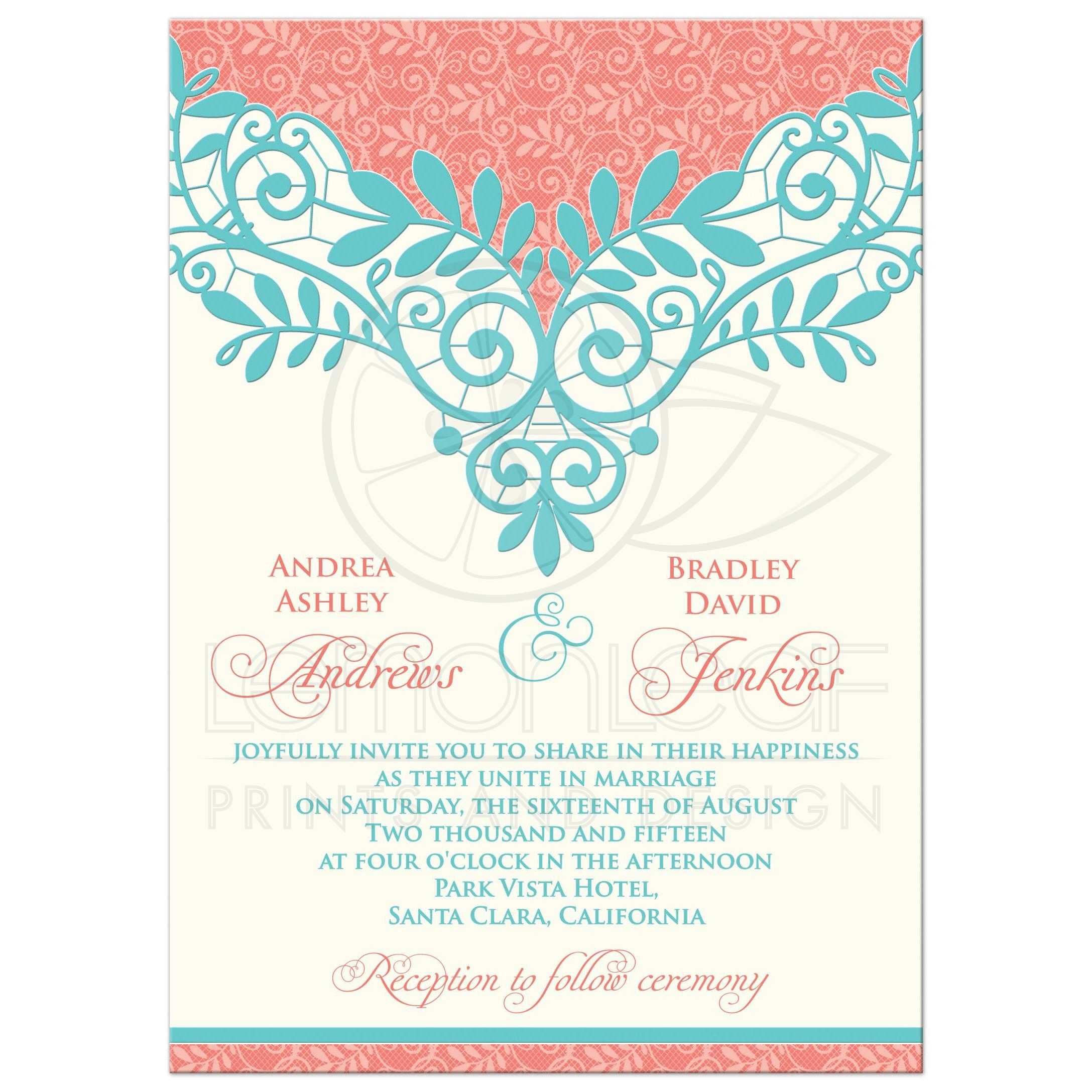 Formal Invitation Rsvp Wedding Invitation Vintage Lace Coral Turquoise