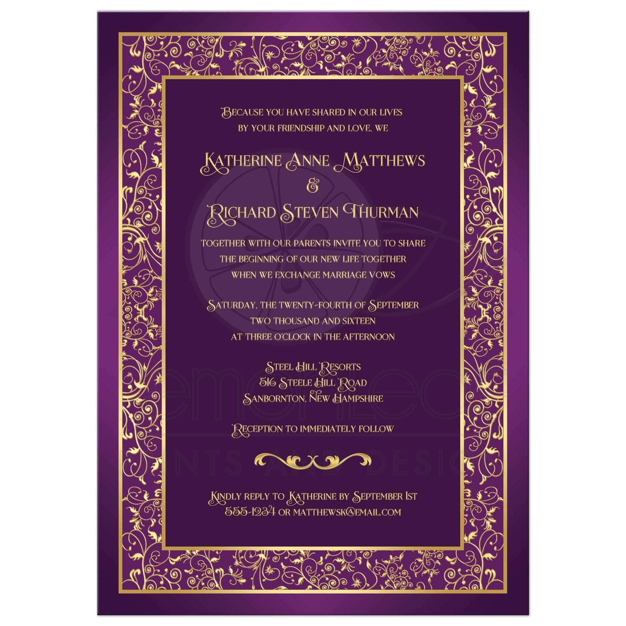 purple and gold wedding invitations purple and gold wedding Wedding Invitation Purple Gold Ornate Scrolls Vines