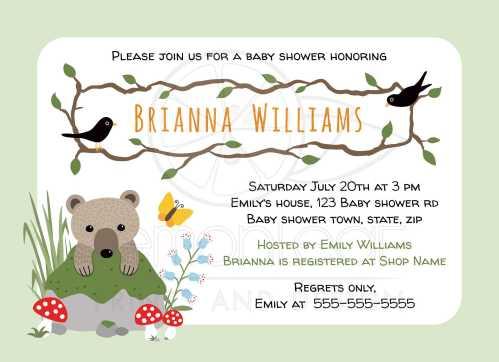 Medium Of Woodland Baby Shower Invitations