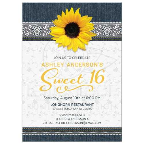 Medium Crop Of Sweet 16 Invitations