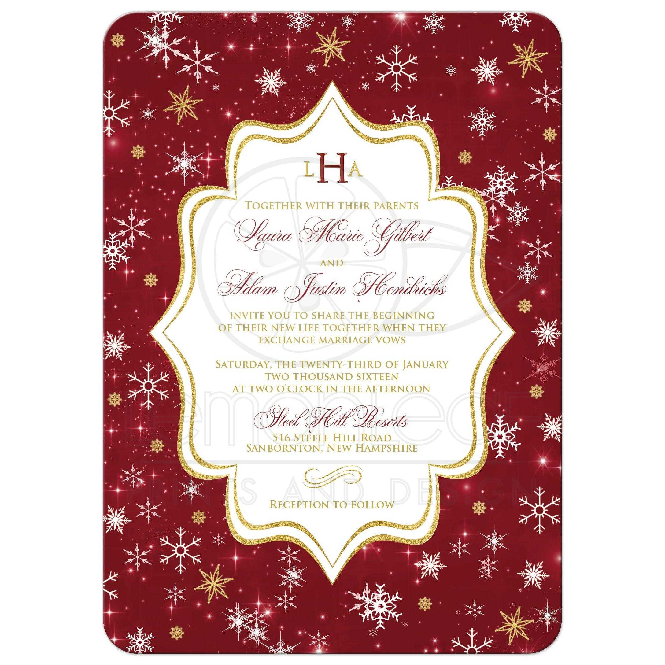 Cheap White Card Monogrammed Wedding Invitation Cranberry Gold White