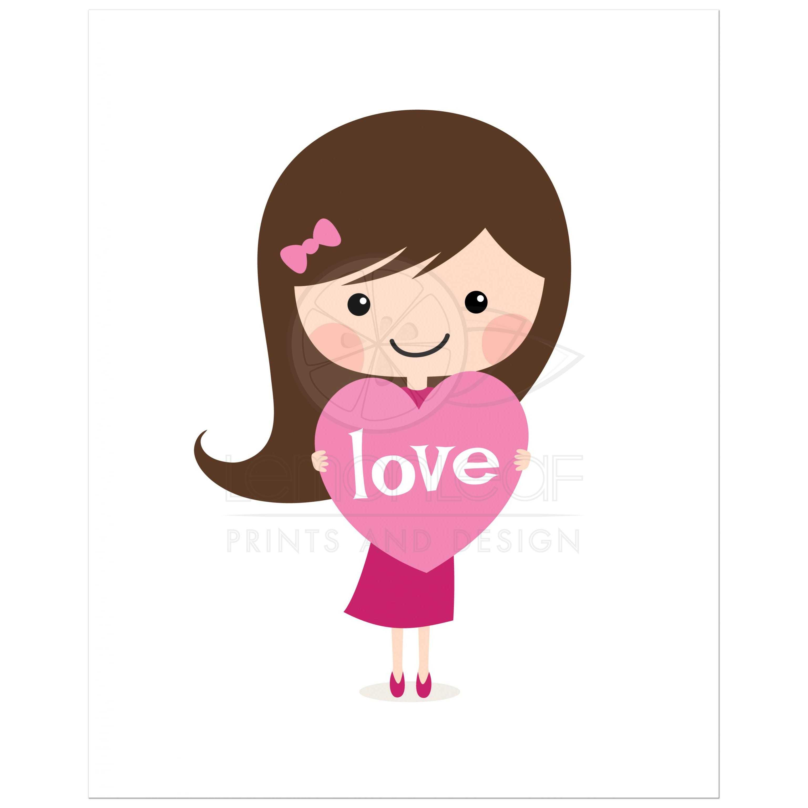 Nursery Prints Girl Cute Brunette Girl Holding A Love Heart Nursery Wall Art For Kids