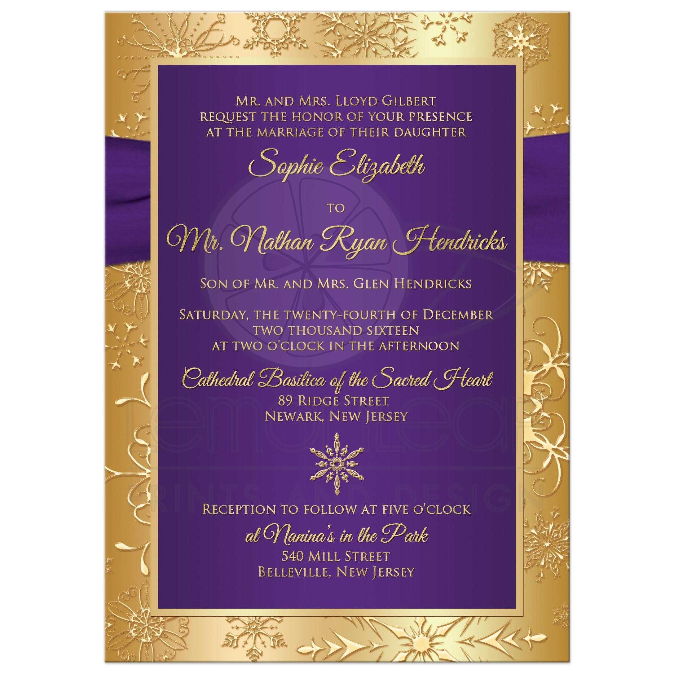 Cheap White Card Winter Wedding Invitation Purple Gold Snowflakes