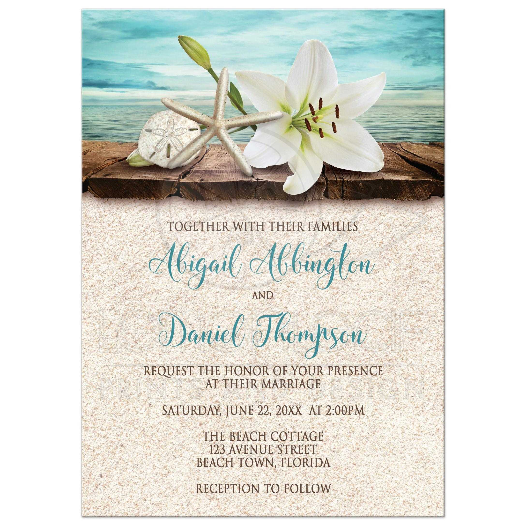Astounding 40698 Rectangle Lily Seashell Sand Beach Wedding Invitations New Photo Wedding Invitations Walgreens Cvs Photo Wedding Invitations wedding invitation Photo Wedding Invitations
