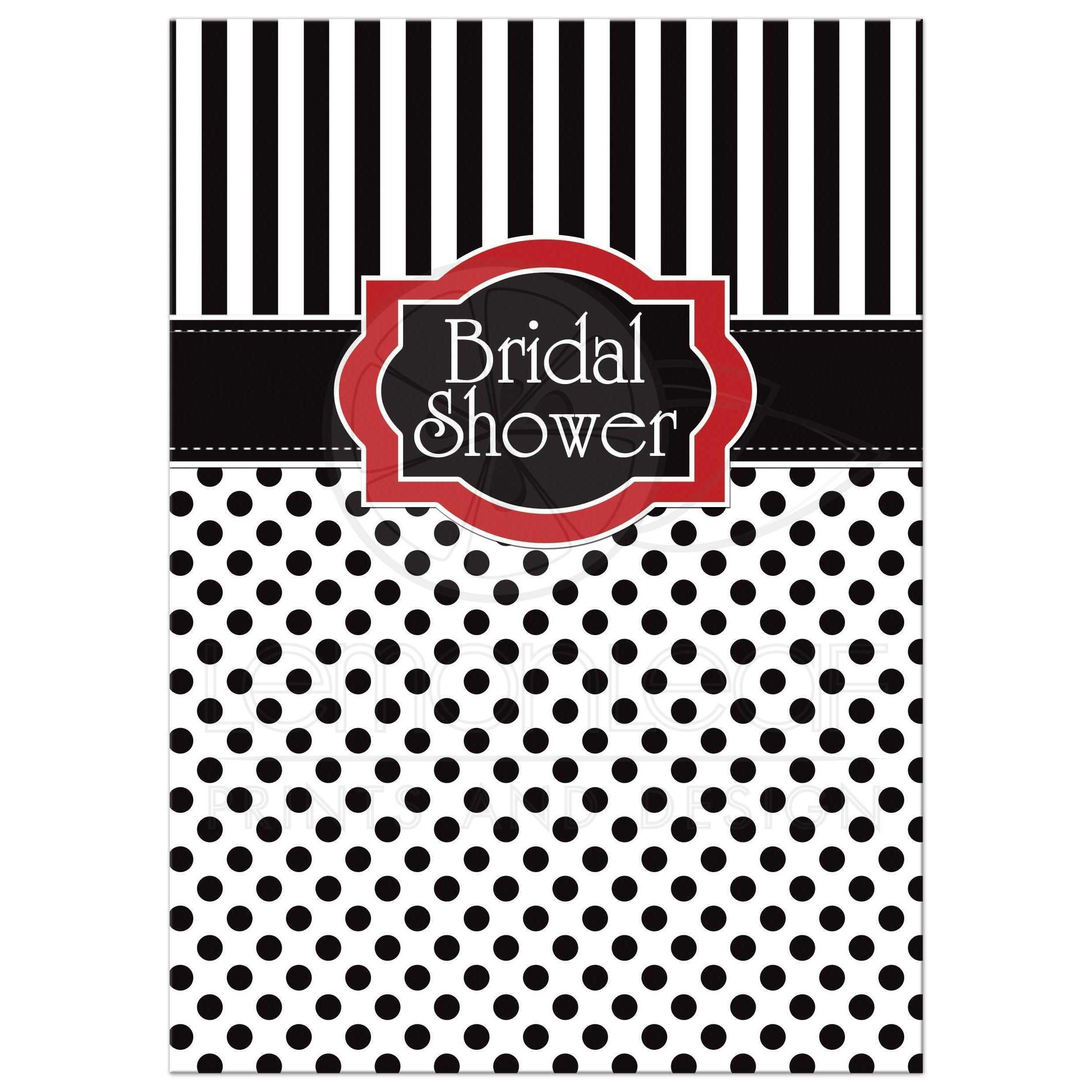 Black And White Polka Dot Wallpaper Border Bridal Shower Invitation Black White Red Polka Dots